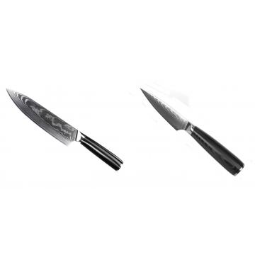 Šéfkucharský nôž Seburo SARADA II Damascus 190mm + Nôž na ovocie a zeleninu Seburo SARADA Damascus 90mm