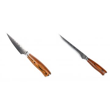 Nôž na ovocie a zeleninu Seburo SUBAJA Damascus 90mm + Vykosťovací nôž Seburo SUBAJA Damascus 150mm