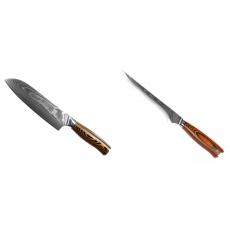 Santoku nôž Seburo SUBAJA II Damascus 190mm + Vykosťovací nôž...
