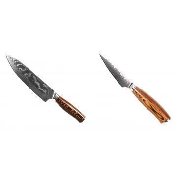 Šéfkucharský nôž Seburo SUBAJA II Damascus 195mm + Nôž na ovocie a zeleninu Seburo SUBAJA Damascus 90mm