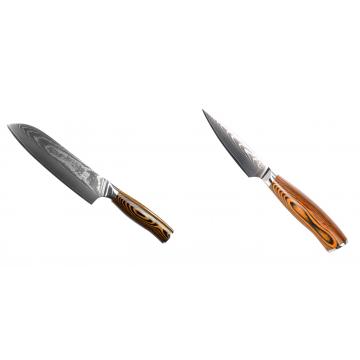 Santoku nôž Seburo SUBAJA II Damascus 190mm + Nôž na ovocie a zeleninu Seburo SUBAJA Damascus 90mm