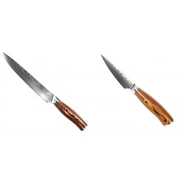Filetovací nôž Seburo SUBAJA II Damascus 200mm + Nôž na ovocie a zeleninu Seburo SUBAJA Damascus 90mm