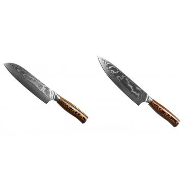 Santoku nôž Seburo SUBAJA II Damascus 190mm + Šéfkucharský nôž Seburo SUBAJA II Damascus 195mm