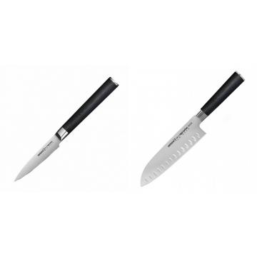 Nůž na ovoce a zeleninu Samura Mo-V (SM-0010), 90mm + Santoku nůž Samura Mo-V (SM-0094), 180mm
