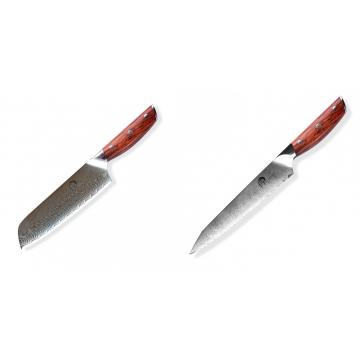 Japonský univerzálny nôž SANTOKU / Chef Dellinger Rose-Wood Damascus, 175mm + Nôž na chlieb a pečivo Dellinger Rose-Wood Damascus, 210mm