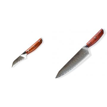 Japonský nôž na okrajovanie ovocia a zeleniny Dellinger Rose-Wood Damascus, 70mm + Japonský nôž na mäso Gyuto / Chef Kiritsuke Dellinger Rose-Wood Damascus, 215mm