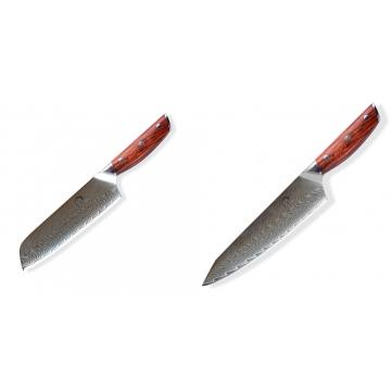 Japonský univerzálny nôž SANTOKU / Chef Dellinger Rose-Wood Damascus, 175mm + Japonský nôž na mäso Gyuto / Chef Kiritsuke Dellinger Rose-Wood Damascus, 215mm