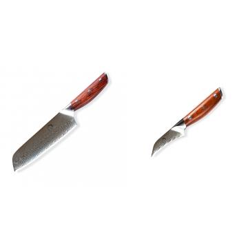 Japonský univerzálny nôž SANTOKU / Chef Dellinger Rose-Wood Damascus, 175mm + Japonský nôž na okrajovanie ovocia a zeleniny Dellinger Rose-Wood Damascus, 70mm