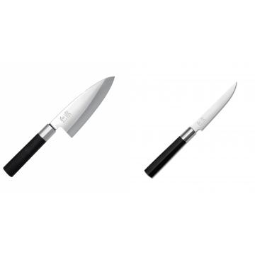 Vykosťovací nůž KAI Wasabi Black Deba, 155 mm + Steakový nôž KAI Wasabi Black, 110mm