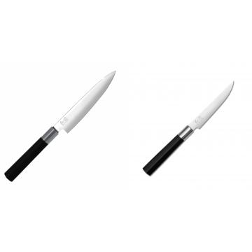 Univerzální nôž KAI Wasabi Black (6715U), 150 mm + Steakový nôž KAI Wasabi Black, 110mm