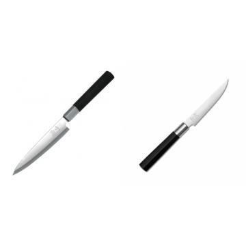 Plátkovací nůž KAI Wasabi Black Yanagiba, 155mm + Steakový nôž KAI Wasabi Black, 110mm