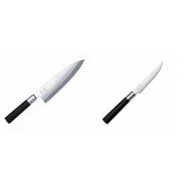 Wasabi Black Deba KAI 210mm + Steakový nôž KAI Wasabi Black, 110mm