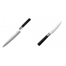 Plátkovací nůž KAI Wasabi Black Yanagiba, 210mm + Steakový nôž...