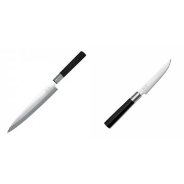 Plátkovací nůž KAI Wasabi Black Yanagiba, 210mm + Steakový nôž KAI Wasabi Black, 110mm