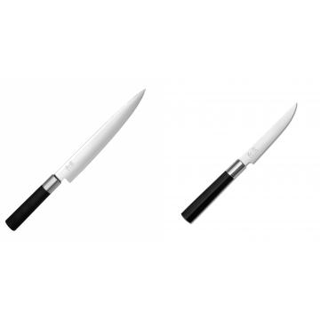 Nôž plátkovací KAI Wasabi Black, 230 mm + Steakový nôž KAI Wasabi Black, 110mm