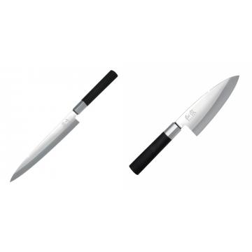 Plátkovací nůž KAI Wasabi Black Yanagiba, 210mm + Vykosťovací nůž KAI Wasabi Black Deba, 155 mm