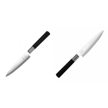 Plátkovací nůž KAI Wasabi Black Yanagiba, 155mm + Univerzální nôž KAI Wasabi Black (6715U), 150 mm