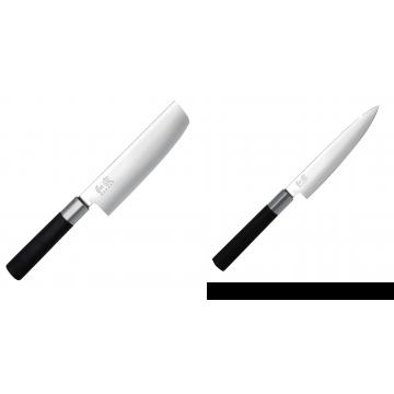 Wasabi Black Nakiri KAI 165mm + Univerzální nôž KAI Wasabi Black (6715U), 150 mm