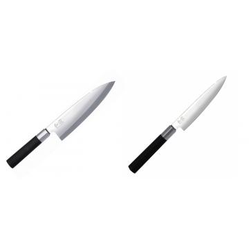 Wasabi Black Deba KAI 210mm + Univerzální nôž KAI Wasabi Black (6715U), 150 mm