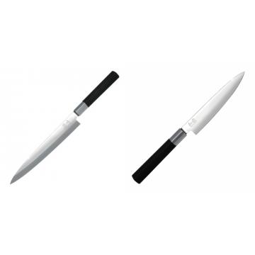 Plátkovací nůž KAI Wasabi Black Yanagiba, 210mm + Univerzální nôž KAI Wasabi Black (6715U), 150 mm
