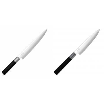 Nôž plátkovací KAI Wasabi Black, 230 mm + Univerzální nôž KAI Wasabi Black (6715U), 150 mm