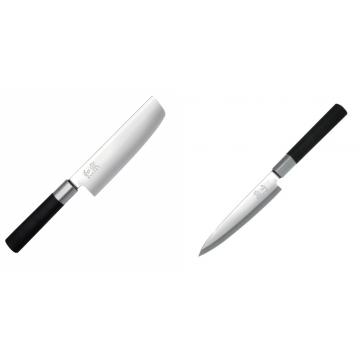 Wasabi Black Nakiri KAI 165mm + Plátkovací nůž KAI Wasabi Black Yanagiba, 155mm