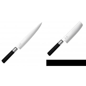 Nôž plátkovací KAI Wasabi Black, 230 mm + Wasabi Black Nakiri KAI 165mm