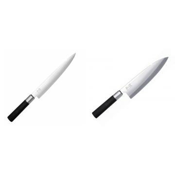 Nôž plátkovací KAI Wasabi Black, 230 mm + Wasabi Black Deba KAI 210mm