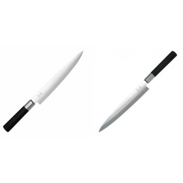 Nôž plátkovací KAI Wasabi Black, 230 mm + Plátkovací nůž KAI Wasabi Black Yanagiba, 210mm