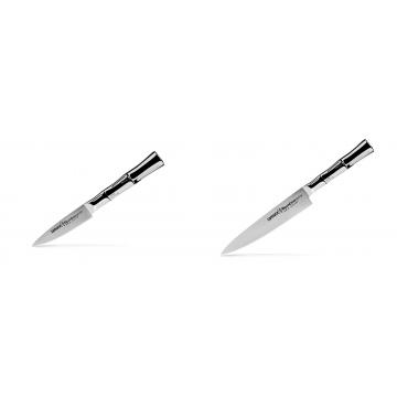 Nůž na ovoce a zeleninu Samura Bamboo (SBA-0010), 80 mm + Univerzálny nôž Samura Bamboo (SBA-0023), 150 mm
