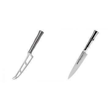 Nůž na sýr Samura Bamboo (SBA-0022), 135 mm + Univerzálny nôž Samura Bamboo (SBA-0023), 150 mm
