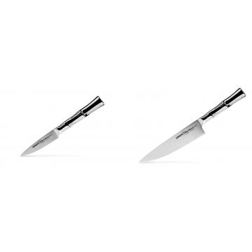 Nůž na ovoce a zeleninu Samura Bamboo (SBA-0010), 80 mm + Šéfkucharský nôž Samura Bamboo (SBA-0085), 200 mm