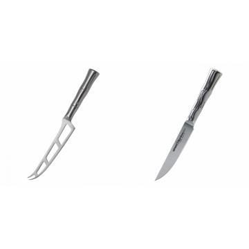 Nůž na sýr Samura Bamboo (SBA-0022), 135 mm + Steakový nůž Samura Bamboo (SBA-0031), 110 mm