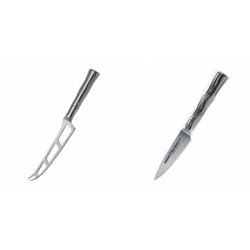 Nůž na sýr Samura Bamboo (SBA-0022), 135 mm + Nůž na ovoce a zeleninu Samura Bamboo (SBA-0010), 80 mm