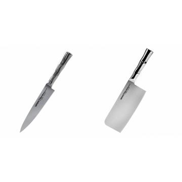 Univerzální nôž Samura Bamboo (SBA-0021), 125 mm + Kuchyňský nůž-sekáček Samura Bamboo (SBA-0040), 180 mm