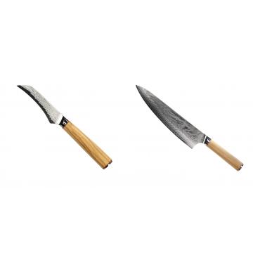 Loupací nůž Seburo HOKORI Damascus 90mm + Šéfkucharský nôž Seburo HOKORI Damascus 230mm