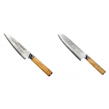 Šéfkucharský nôž Seburo HOKORI EDGE Damascus, 155mm + Santoku nôž Seburo HOKORI Damascus 180mm