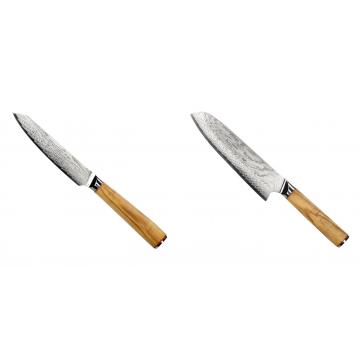 Univerzální nůž Seburo HOKORI EDGE Damascus 130mm + Santoku nôž Seburo HOKORI Damascus 180mm