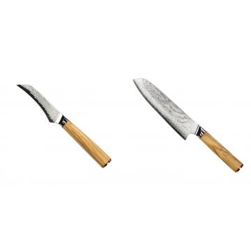 Loupací nůž Seburo HOKORI Damascus 90mm + Santoku nôž Seburo HOKORI Damascus 180mm