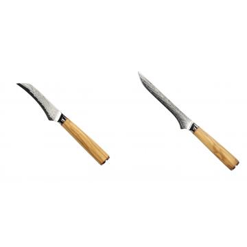 Loupací nůž Seburo HOKORI Damascus 90mm + Vykosťovací nůž Seburo HOKORI Damascus 130mm