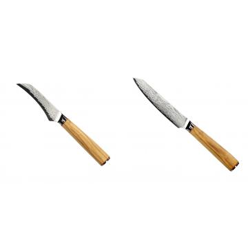 Loupací nůž Seburo HOKORI Damascus 90mm + Univerzální nůž Seburo HOKORI EDGE Damascus 130mm