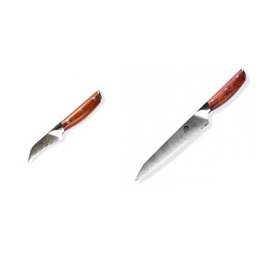 Japonský nôž na okrajovanie ovocia a zeleniny Dellinger Rose-Wood Damascus, 70mm + Nôž na chlieb a pečivo Dellinger Rose-Wood Damascus, 210mm
