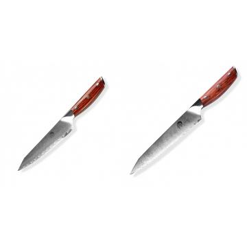 Japonský univerzálny nôž Dellinger Rose-Wood Damascus, 130mm + Nôž na chlieb a pečivo Dellinger Rose-Wood Damascus, 210mm