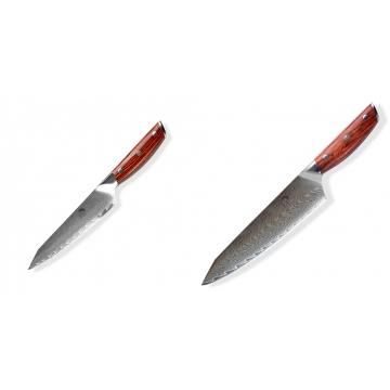 Japonský univerzálny nôž Dellinger Rose-Wood Damascus, 130mm + Japonský nôž na mäso Gyuto / Chef Kiritsuke Dellinger Rose-Wood Damascus, 215mm
