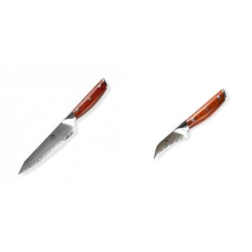Japonský univerzálny nôž Dellinger Rose-Wood Damascus, 130mm + Japonský nôž na okrajovanie ovocia a zeleniny Dellinger Rose-Wood Damascus, 70mm