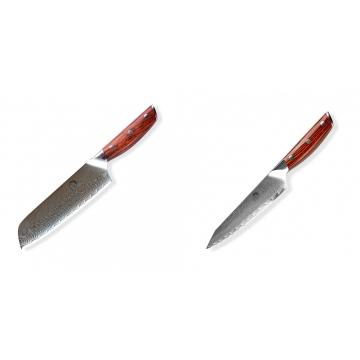 Japonský univerzálny nôž SANTOKU / Chef Dellinger Rose-Wood Damascus, 175mm + Japonský univerzálny nôž Dellinger Rose-Wood Damascus, 130mm