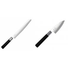 Wasabi Black Nôž na pečivo KAI 230mm + Wasabi Black Deba KAI...