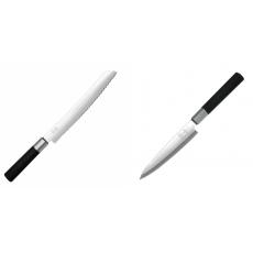 Wasabi Black Nôž na pečivo KAI 230mm + Plátkovací nůž KAI Wasabi...